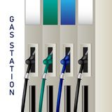 Fuel dispenser and fuel nozzles at a filling station to pump pet. Rol, gas, diesel. Petrol pumps. Vector Stock Images