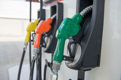 Fuel dispenser at a gasoline station Royalty Free Stock Image