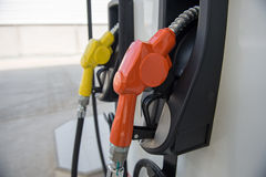 Fuel dispenser at a gasoline station Royalty Free Stock Photo