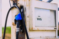 Fuel dispenser is a machine at a filling station Stock Photos