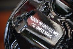Fuel Door, Premium Fuel Only. Car fuel door with Premium Fuel Only decal Stock Photo