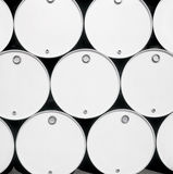 Fuel drums. Front view of fuel blank drums royalty free stock images