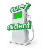 Fuel Efficient Gasoline Diesel Pump Green Power Energy. Fuel Efficient words on a gasoline or diesel pump for increasing mileage and decreasing gas consumption stock illustration