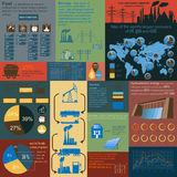Fuel and energy industry infographic, set elements for creating royalty free illustration
