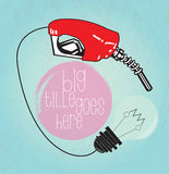 Fuel fill up and light bulb to more creative background Royalty Free Stock Images