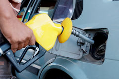 Fuel filling. A common environment can be seen in the petrol pump stations Royalty Free Stock Images