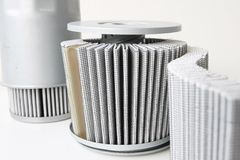 Fuel filter assembly  with pleat paper. Close up filter isolated on white Stock Image
