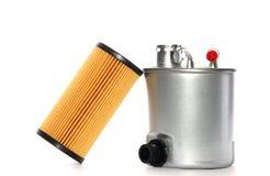 Fuel filtrerar, och olja filtrerar kassetten Arkivfoto