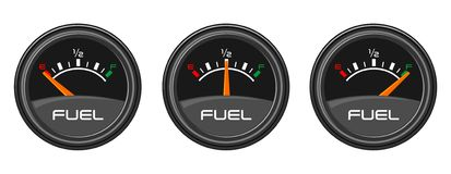 Fuel Gages. Showing empty, half, and full Stock Photos