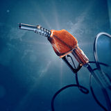 Fuel gas filling nozzle 3d digital global quality futuristic background. , benzine, car transportation future concept. Stock Image