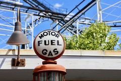 Fuel Gas and Motor Vehicle Station. A vintage fuel gas and motor vehicle service station sign royalty free stock image