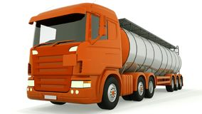 Fuel gas tanker truck isolated. 3D rendering.  stock illustration
