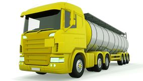 Fuel gas tanker truck isolated. 3D rendering.  royalty free illustration