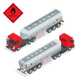 Fuel gas tanker truck isometric illustration. Truck with fuel 3d vector. Automotive fuel tanker shipping fuel. Oil Truck vector illustration