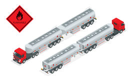 Fuel gas tanker truck isometric illustration. Truck with fuel vector. Automotive fuel tanker shipping fuel. Oil Truck Stock Photo