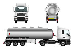 Fuel gas tanker truck. Template. Vector isolated car. Truck trailer on white background Stock Photos