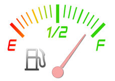 Fuel gauge. Illustration of the gauge of fuel with an arrow on a full tank Stock Photo