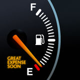 Fuel Gauge. Showing Euro warning light vector illustration