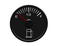 Fuel gauge. Auto fuel gauge with red pointer Stock Images
