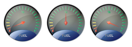 Fuel Gauge. Vector illustration of a fuel gauge in three states: empty, half full and full stock illustration