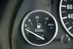 Fuel gauge. In diesel car panel Royalty Free Stock Images