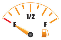Fuel gauge. A fuel gauge on empty Royalty Free Stock Photo