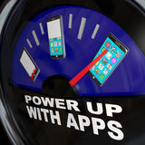 Fuel Gauge Apps Smart Phone Full of Applications Stock Photos