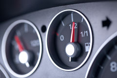 Fuel Gauge in a Car Dashboard Royalty Free Stock Photo