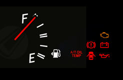 Fuel gauge and Car dashboard signs Stock Photo
