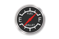 Fuel Gauge - Empty Wallet Concept Stock Photos