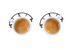 Fuel Gauge Espresso. Fuel Gauge, Empty / Full Concepts on espresso cups. Handle is the Gauge Stock Photo