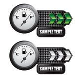 Fuel gauge on green and silver arrow banners Royalty Free Stock Image