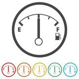 Fuel gauge icon, Full gas tank, 6 Colors Included. Simple vector icons set Stock Photo