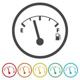 Fuel gauge icon, Full gas tank, 6 Colors Included. Simple vector icons set Royalty Free Stock Image