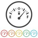 Fuel gauge icon, Full gas tank, 6 Colors Included. Simple vector icons set Stock Images