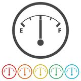 Fuel gauge icon, Full gas tank, 6 Colors Included. Simple vector icons set Stock Photos