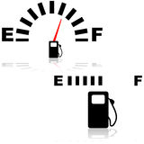 Fuel gauge. Icon illustration showing two types of fuel gauges, one digital and one analog Stock Photo