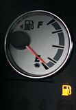 Fuel gauge with fuel light on Stock Photos