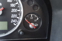 Fuel gauge needle points empty Royalty Free Stock Photos