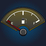 Fuel gauge pop art style vector. Illustration. Empty fuel tank. Comic book style imitation. Vintage retro style. Conceptual illustration Royalty Free Stock Images