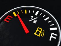 Fuel gauge showing and empty tank metaphore Royalty Free Stock Photography