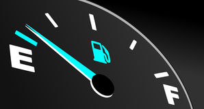 Fuel gauge showing empty tank Royalty Free Stock Image