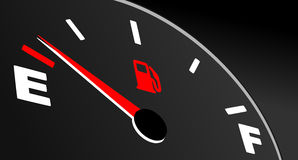 Fuel gauge showing empty tank Royalty Free Stock Images