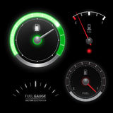 Fuel gauge speedometer vector collection. Set Royalty Free Stock Photos