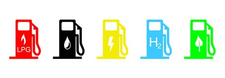 Fuel icons. Illustration of five kind of car fuel: LPG, petrol, electricity, hydrogen and biodiesel. Vector available Royalty Free Stock Photos