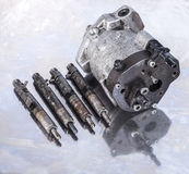 Fuel Injection Pump with injectors. Stock Images