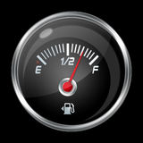 Fuel level indicator. On black background Stock Photo