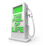 The Fuel of Life - Gasoline Pump for Refueling. A white pump with green screen and the words The Fuel of Life on its front, symbolizing natural fuels or foods Stock Images