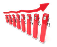 Fuel market: red petrol pumps chart Royalty Free Stock Photography