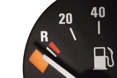 Fuel meter. On low level Stock Photos